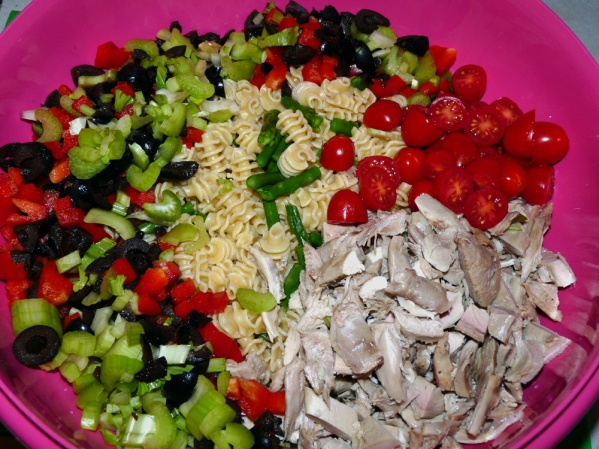 Add veggies and turkey to the bowl