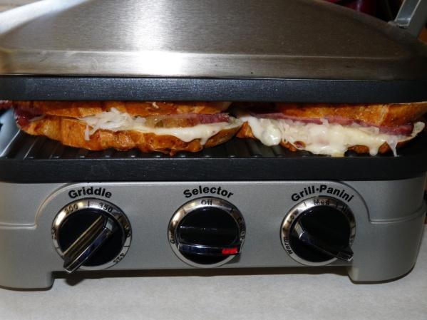 Corned beef, sauerkraut and Swiss cheese paninis