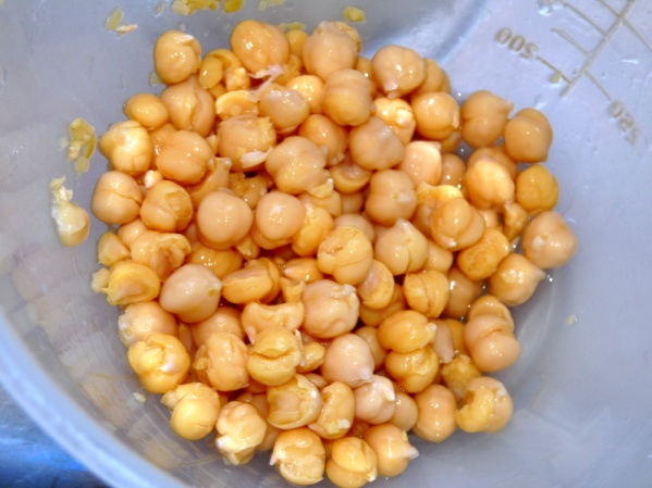 Rinse chick peas and remove as many skins as possible
