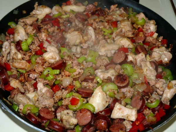 Add diced pepper and celeery, frying for another 5 minutes