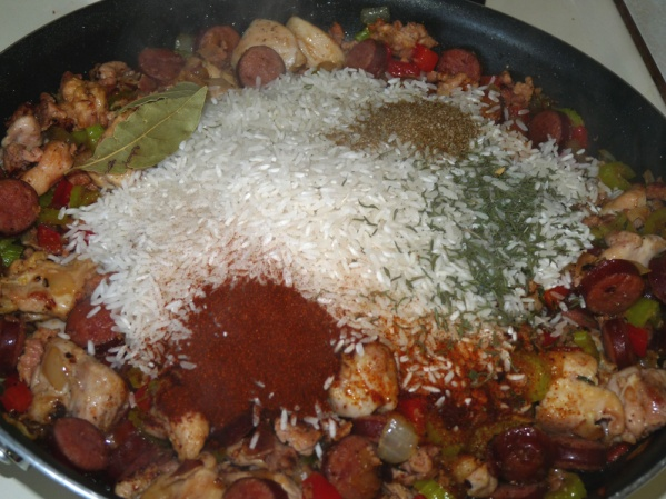 Add rice and seasonings; stir and cook another 3 minutes