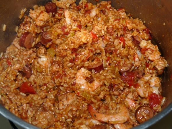Fluff and add shrimp