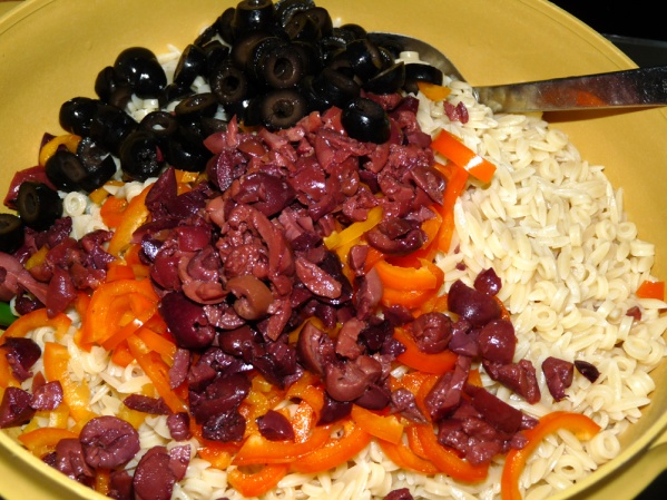 Add Kalamata and black olives
