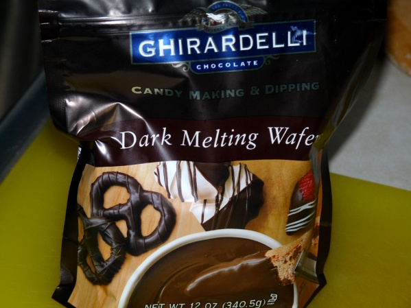 Dark chocolate wafers for dipping