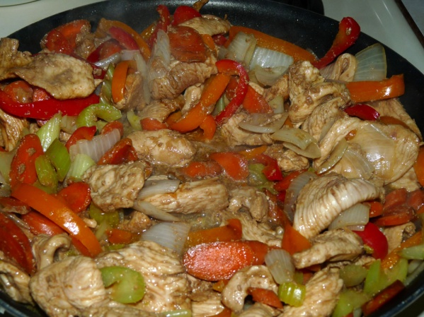 Remove chicken and veggies and add remaining marinade to pan