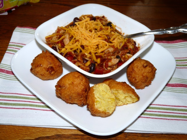 Hush Puppies with Shredded Chicken Chili