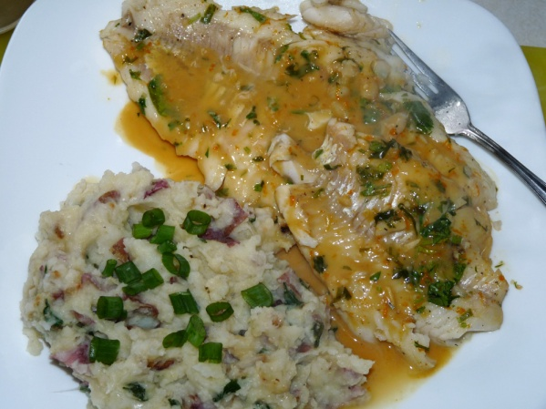 Orange Ginger Walleye and Loaded Mashed Potatoes
