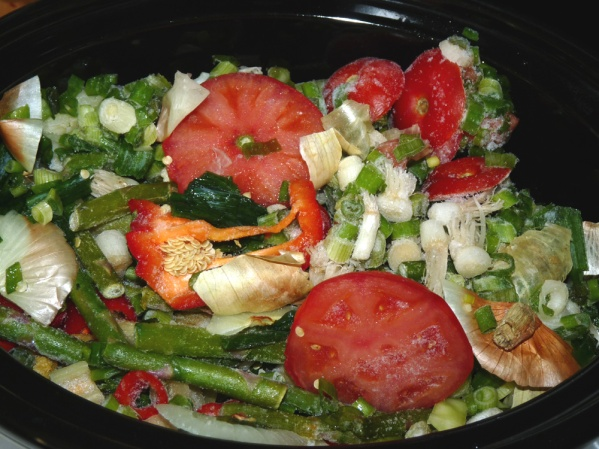 Collect ends and pieces of vegetables in bags in the freezer until you have enough to fill a crockpot.