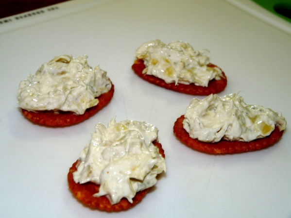 Artichoke Cod Spread on Crackers