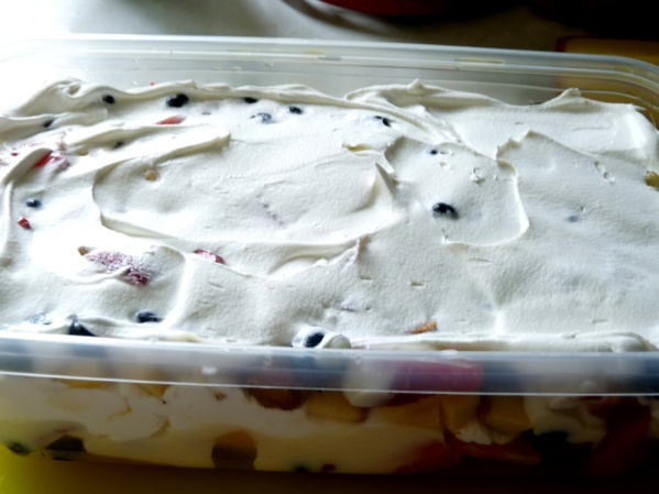 Picnic trifle, assembled in a plastic container
