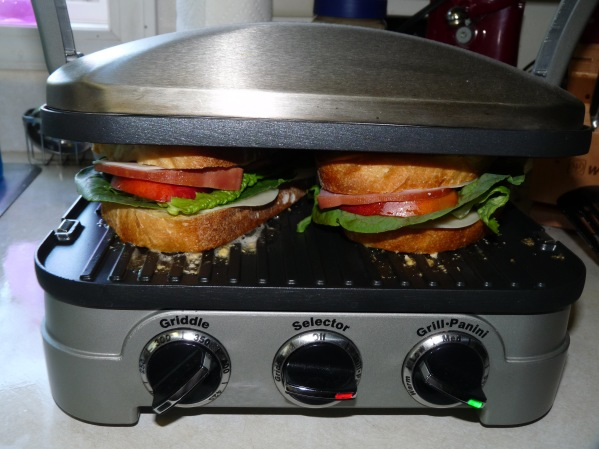 Sandwiches being toasted
