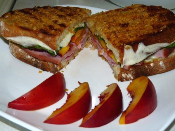 Crispy Ham and Peach Panini