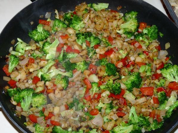 Saute veggies until onion is translucent