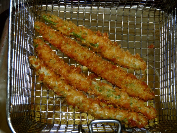 Browned and crispy coated green beans