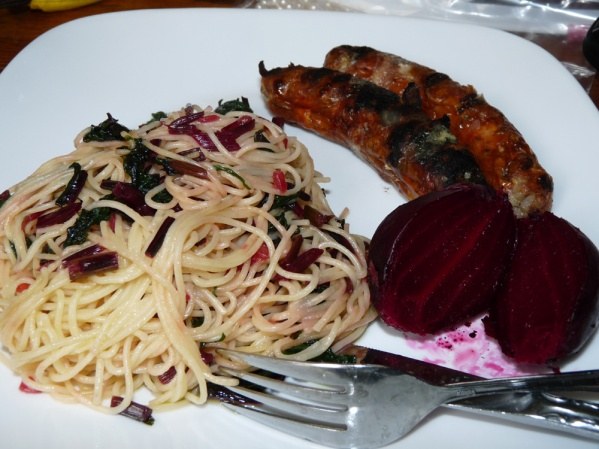 Grilled Sausages, Beets and Pasta