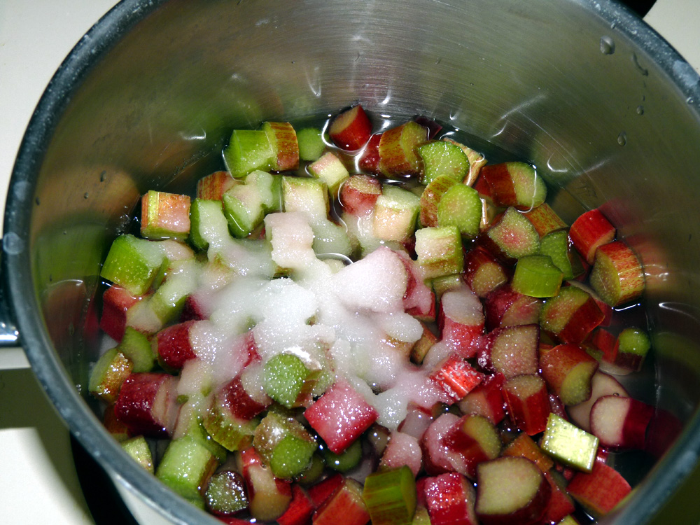Dice rhubarb and simmer in a saucepan with sugar and water