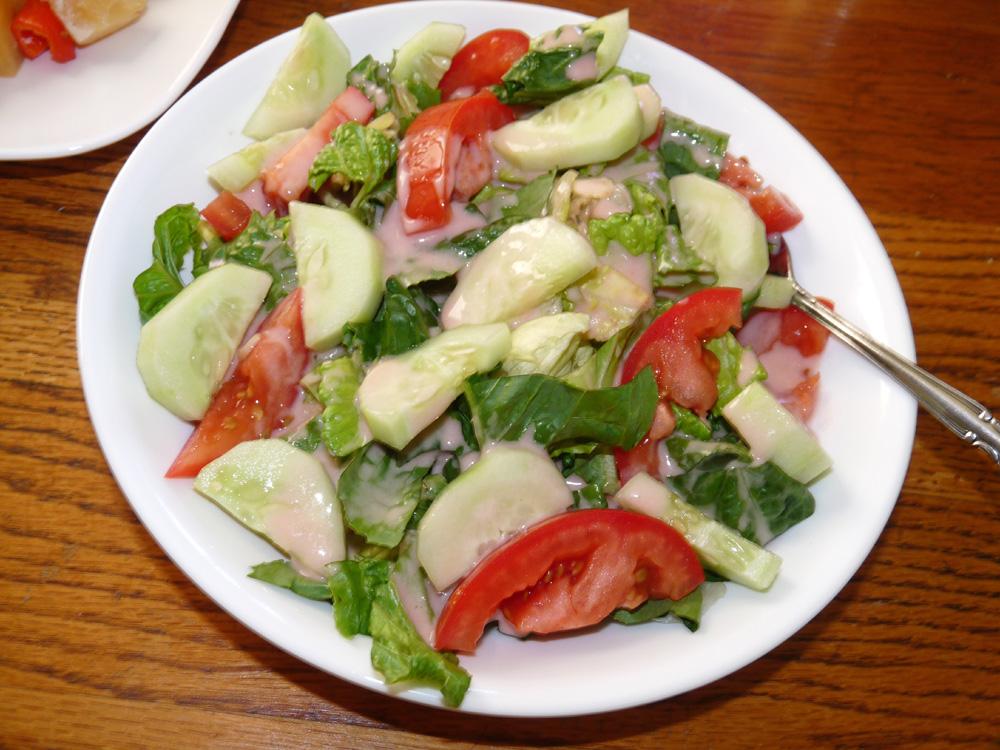 Garden Salad with Rhubarb Vinaigrette