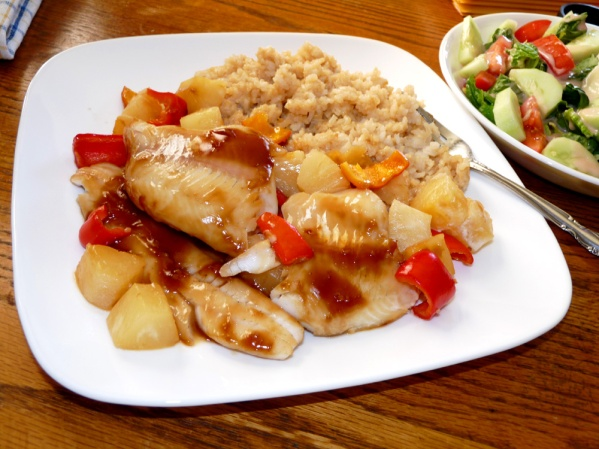 Baked Teriyaki Pineapple Walleye
