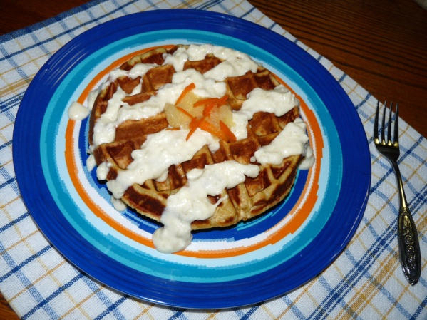 Carrot Cake Waffle with Cream Cheese Drizzle