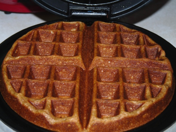 Pour batter onto waffle iron and cook until browned and crispy on the outside