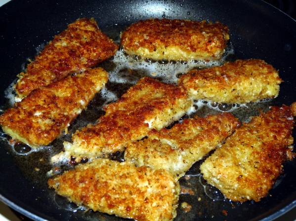 After 2 or 3 minutes the filets should be golden on the first side. Turn and fry on the second side 2 or 3 minutes more