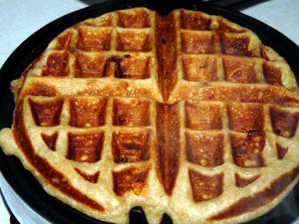 Pour batter onto waffle iron and cook until golden brown