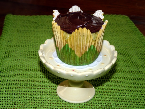 Chocolate Filled Pistachio Cupcakes