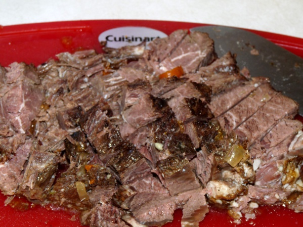 Diced up roast beef