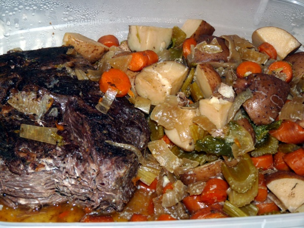 Leftover pot roast and vegetables