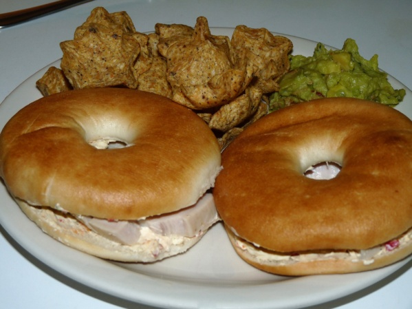 Turkey and Vegetable Cream Cheese Bagel