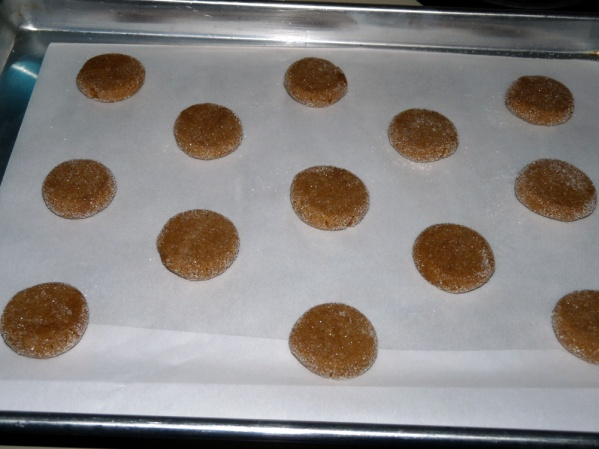 Scoop in small balls, roll in sugar and flatten slightly