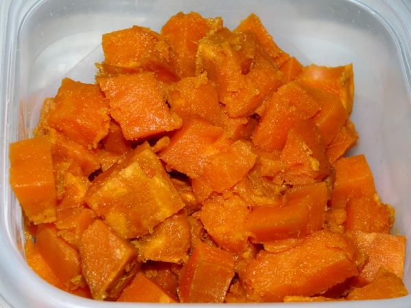 Roast sweet potato, peel and cut into cubes