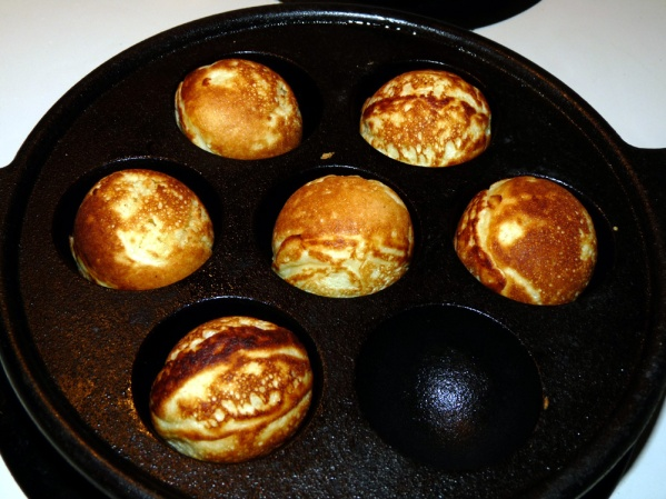 Turn every minute or two to allow the aebleskiver to cook through