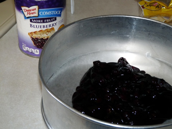 Spread about half of the pie filling into a springform or round cake pan lined with parchment paper