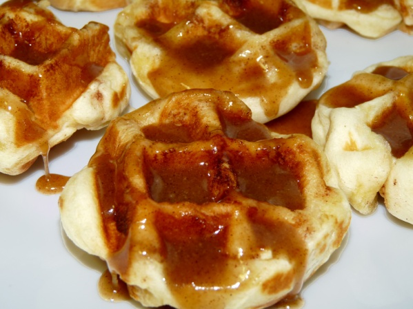 Caramel Frosted Cinnamon Roll Waffles