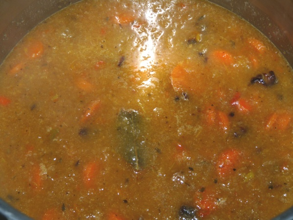 Add seasonings and sliced carrots and bring to bubbling boil. Cook over medium heat until carrots are fork tender