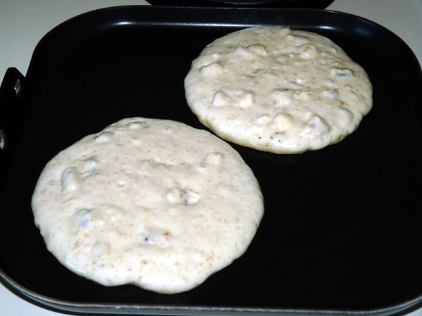 "Pour batter onto griddle until 4"" diameter"