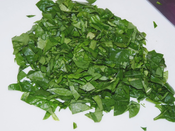 Chop spinach and add to turkey mixture