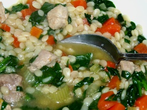 Pork, Greens and Orzo Soup
