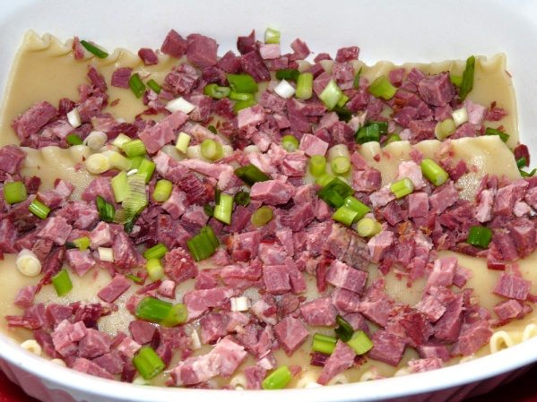 Spread half of the chopped corned beef and half of the green onions over the noodles