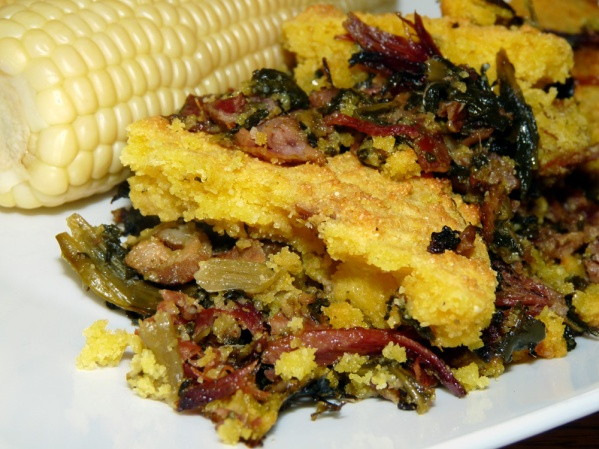 Skillet Cornbread with Ham and Collard Greens