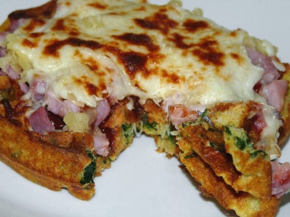 Hawaiian Pizza Spinach Waffles