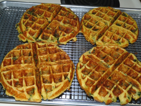 Keep waffles on a rack in the preheated oven while finishing all of the waffles