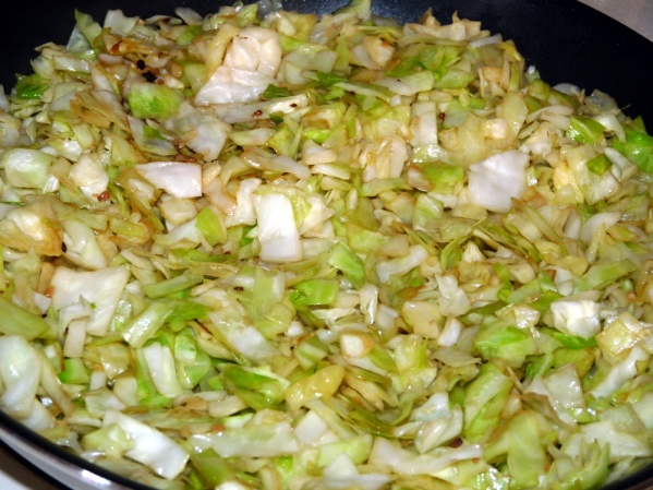 Saute cabbage until translucent, about 15-20 minutes