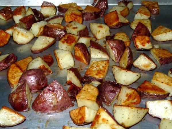 Stir potatoes halfway through to encourage browning on more sides.