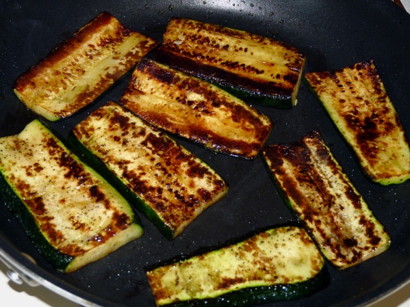 Saute zucchini until it is well browned on both sides for a lovely depth of flavor