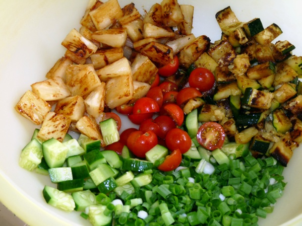 Add chopped vegetables to a large mixing bowl