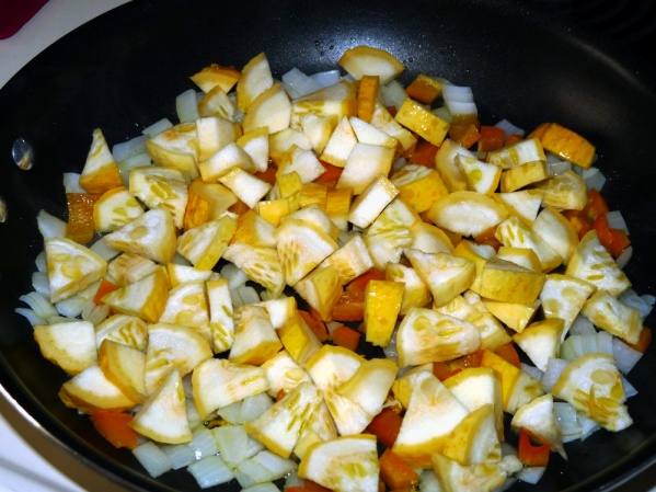Add the diced summer squash, golden beets and a bit of bacon grease