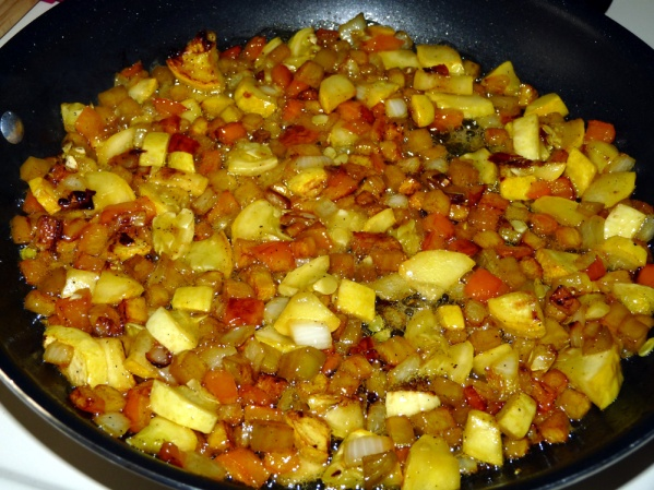 Let cook without stirring so the vegetables brown on the bottom of the pan