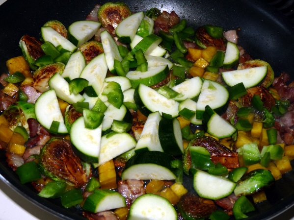 Add green beans, pepper, zucchini, onions and seasonings